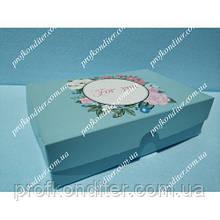 """Коробка для еклерів, зефіру """"For you"""" бірюзова"""