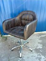 Кресло парикмахерское VM827 Хром КЗ Hawk 3246 Brown (Velmi TM)