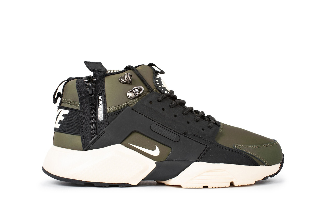 ce7e192fa21f95 Мужские кроссовки Nike Air Huarache acronym Winter цвета хаки топ реплика -  Интернет-магазин обуви