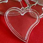 """Акрилові брелоки """"Серце"""", заготовки брелоків з кільцем та ланцюжком. Фото 47х47 мм, фото 6"""