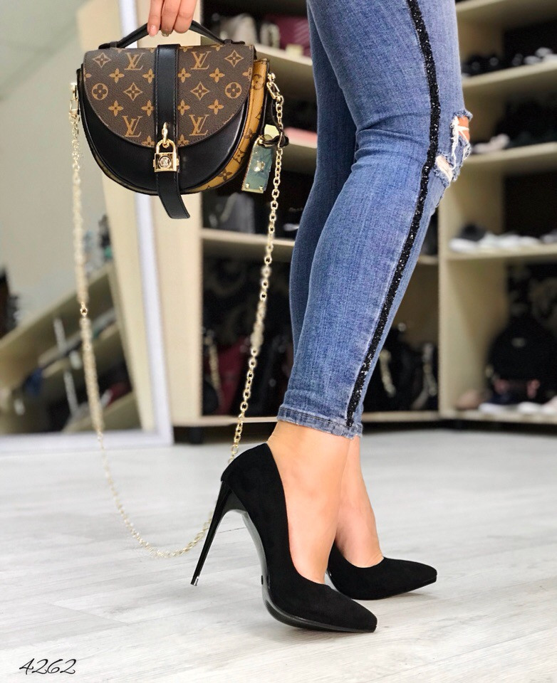 Туфли чёрный замш новая модель