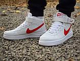 Кроссовки 40,43 размеры  мужские Nike air force белые высокие М0080, фото 2