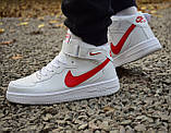 Кроссовки 40,43 размеры  мужские Nike air force белые высокие М0080, фото 5