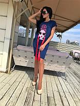 Эксклюзивная женская туника, с фотопечатью и жемчугом Малиновая. (3 цвета) Р-ры 42-52. (141)643., фото 2
