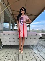 Эксклюзивная женская туника, с фотопечатью и жемчугом Малиновая. (3 цвета) Р-ры 42-52. (141)643., фото 3