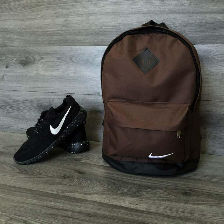 Стильний чоловічий рюкзак Nike, Найк з шкір. дном. Коричневий з чорним