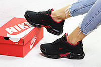 Женские кроссовки Nike Air Max Tn черные Зима (Реплика ААА+), фото 1