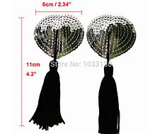 Стикини серебрянные с черными кисточками, фото 2