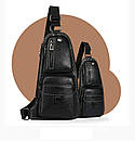 Сумка-рюкзак на одно плечо Черная, фото 6