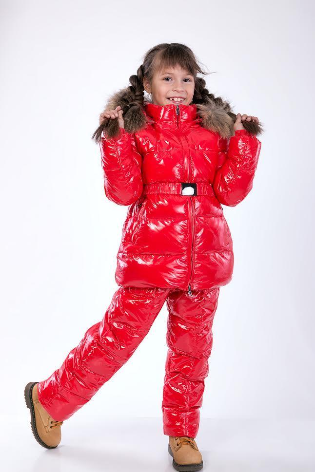 Детский зимний комбинезон для девочки Sabbi красный лаковый