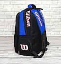 Вместительный рюкзак Wilson для школы, спорта. Черный с синим., фото 6