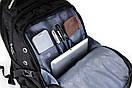 Вместительный рюкзак SwissGear Wenger, свисгир. Черный с синим. 35L / s6611 blue, фото 8