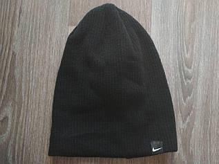 Классическая шапка ребристая вязка черная 333-36