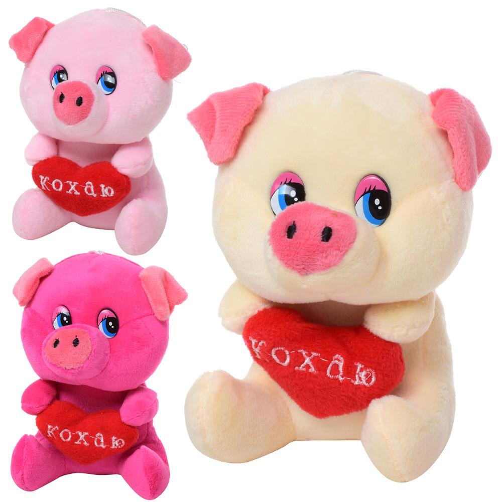 Мягкая игрушка MP 1703 (80шт) свинка, размер маленький, 14см, на присо