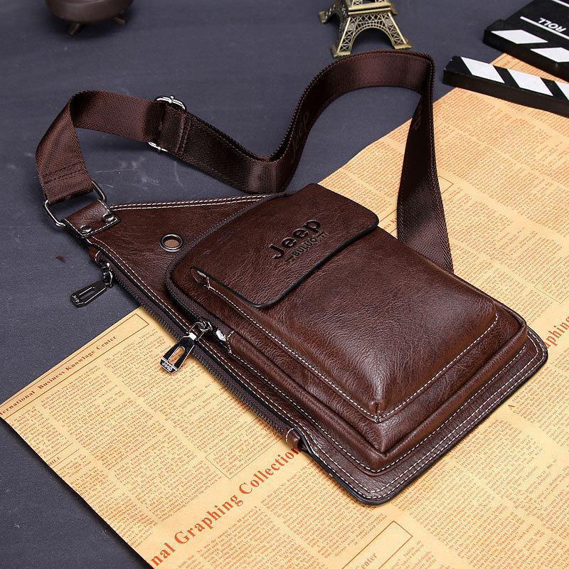 Сумка-рюкзак на одно плечо, кобура, слинг Jeep Buluo. Темно-коричневая / J 603 DB