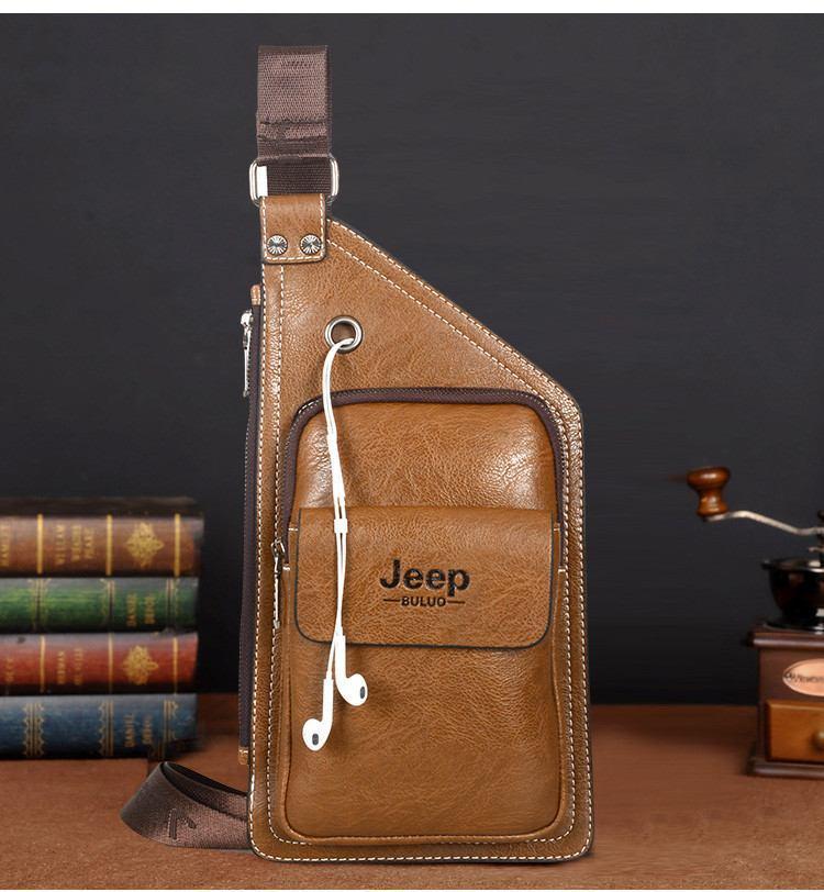 Сумка-рюкзак на одно плечо, кобура, слинг Jeep Buluo. Светло-коричневая / J 604 LB