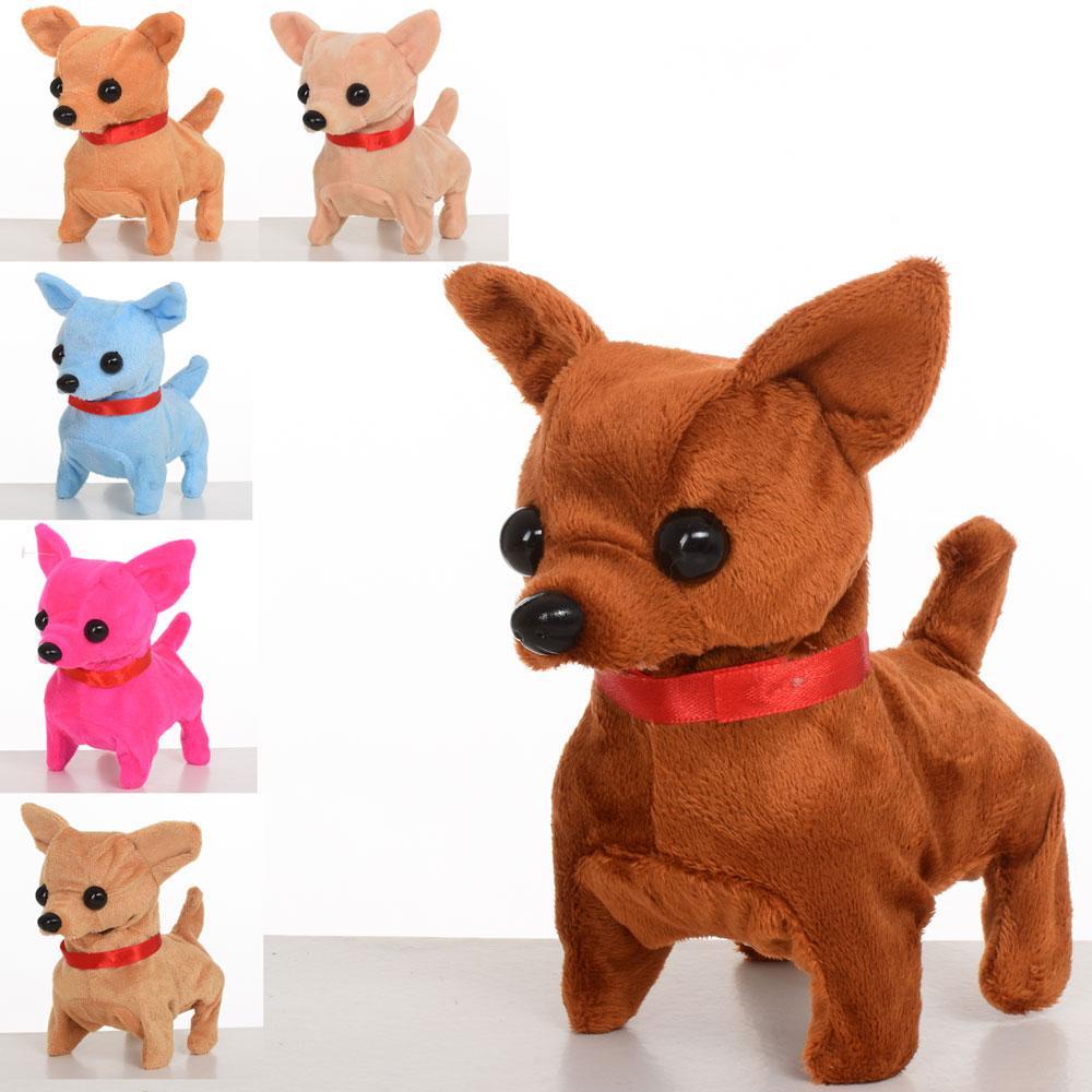 Собака MP 1648 (60шт) мягкая, размер средний 15см, 6цветов, звук, ходи