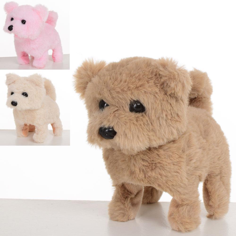 Собака MP 1645 (60шт) мягкая, размер маленький, 15см, 3цвета, звук, хо