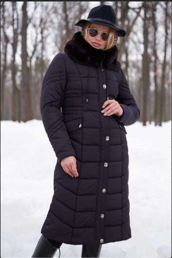 a275ac2861a4 Женское темно-синее зимнее пальто с меховым воротником-капюшоном