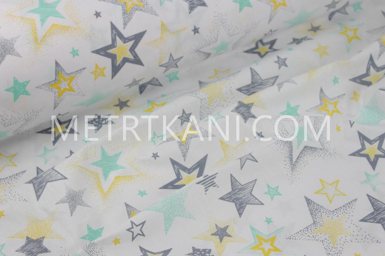 """Ткань хлопковая звездопад  """"Граффити """" мятно-серый-желтый  №1260"""