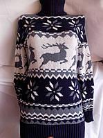 Свитер - туника женский под горло олени (44/50 универсал) (цвет т.синий) СП
