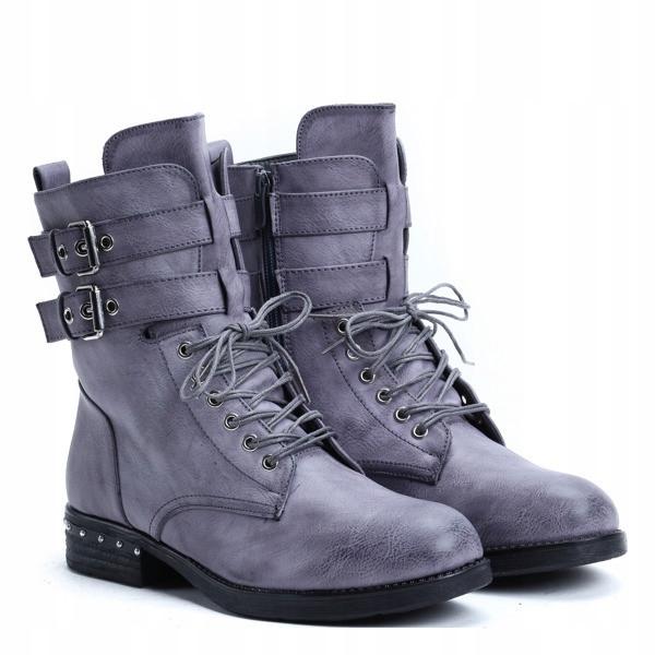 Демисезонные высокие женские ботинки серого цвета