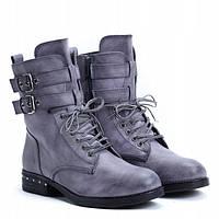 Демисезонные высокие женские ботинки серого цвета , фото 1