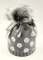 Дитяча в'язана Польська з 50 по 56 розмір шапка дитячі шапки зимова тепла, фото 1