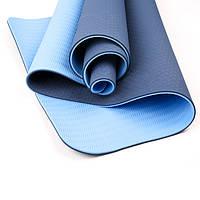 Коврик для йоги и фитнеса (йога мат) OSPORT Premium TPE+TC 183х61см толщина 6мм (FI-0076) cине-голубой