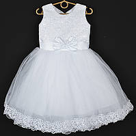 """Платье нарядное детское """"Гортензия"""" с бантом 3-4 года. Белое. Купить оптом и в розницу, фото 1"""