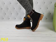 Ботинки тимбер черные зима очень теплые 36 размер, фото 1