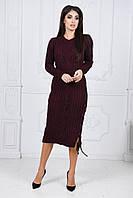 Женское яркое приталенное платье вязка