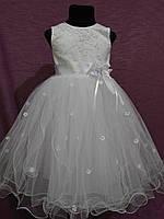 Платье детское нарядное с пышной юбочкой на 4-6 лет белое, фото 1