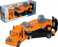 """Игрушка Polesie автомобиль-трейлер """"Майк"""" + дорожный каток (в коробке) (55712)"""