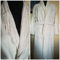 Махровый женский халат с кружевом, из настоящего хлорпка