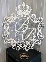 Свадебная монограмма, герб, с короной, буквы инициалы ВВ