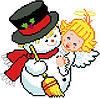 """Набор для вышивки крестиком """"Снеговик и Ангелок"""""""