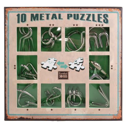 Набор головоломок 10 Metall Puzzles green 10 головоломок Eureka 3D Puzzle