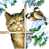 """Набор для вышивки крестиком """"Котик в окне"""""""