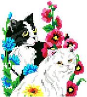 """Набір для вишивки хрестиком """"Котики в квітах"""""""