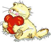 """Набор для вышивки крестиком """"Влюбленный котик"""""""