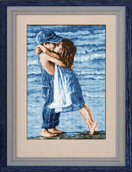 """Набор алмазной вышивки (рисования камнями) """"Дети на пляже"""""""
