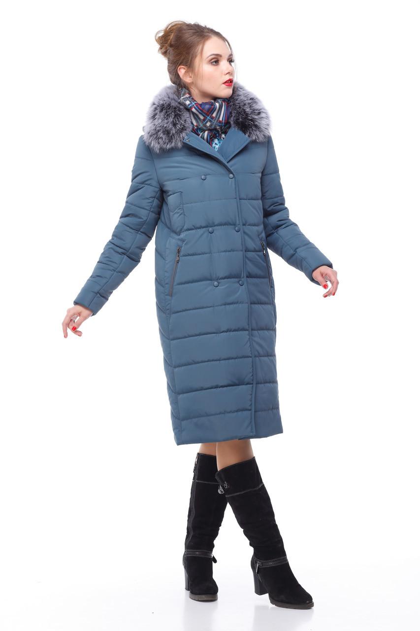 Зимнее пальто цвет серо-синий с песцом большие размеры 48,50,52,54,56,58,60