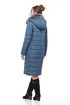 Зимнее пальто цвет серо-синий с песцом большие размеры 48,50,52,54,56,58,60, фото 3