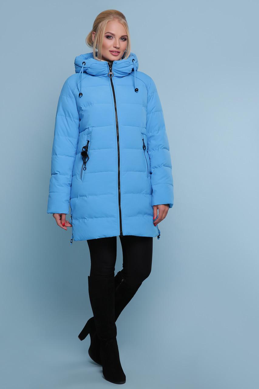 Куртка синяя зимняя женская ниже бедра размеры 48,50,52,54,56