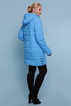 Куртка синяя зимняя женская ниже бедра размеры 48,50,52,54,56, фото 2