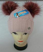 Детские шапки с помпонами из натурального меха оптом в Украине ... 17faf3c2cc0cb