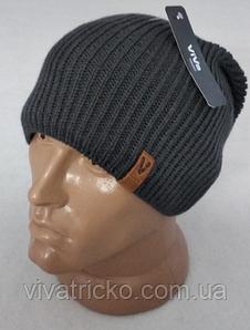 Мужская шапка зимняя с кнопкой, флис м 6126, разные цвета