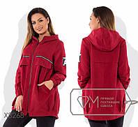 Женская куртка парка без подкладки с капюшоном Батал