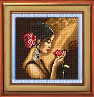 """Набор алмазной вышивки (рисования камнями) """"Испанка с цветком"""""""